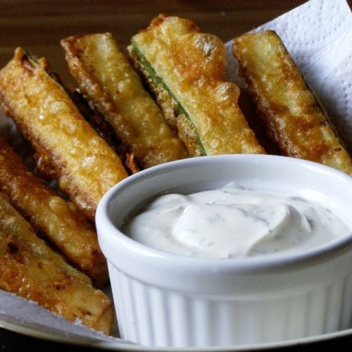 Beer Battered Zucchini Sticks with a Vegan Ranch Style Dip